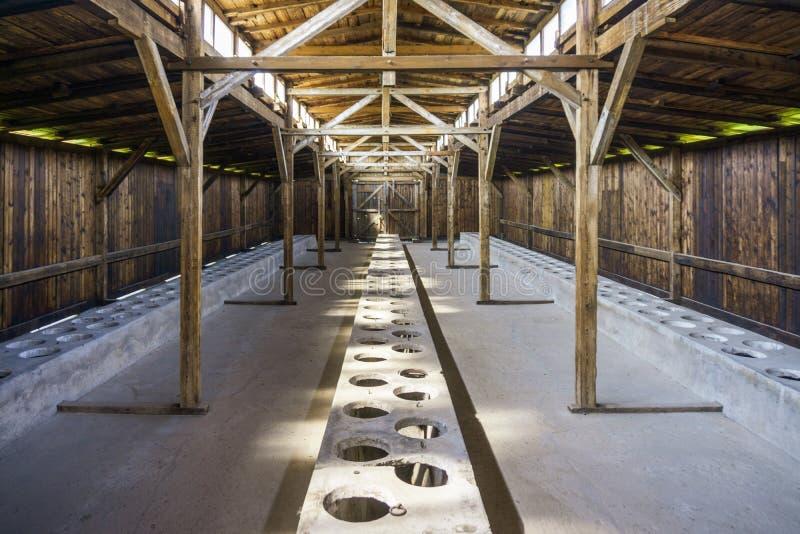 Interior of residential barrack in Auschwitz Birkenau Museum, Poland royalty free stock image