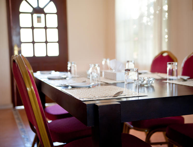 Interior in a restaurant. Modern Interior in a empty restaurant royalty free stock photography