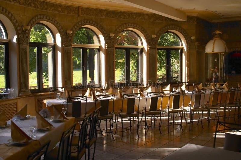Interior of restaurant stock images