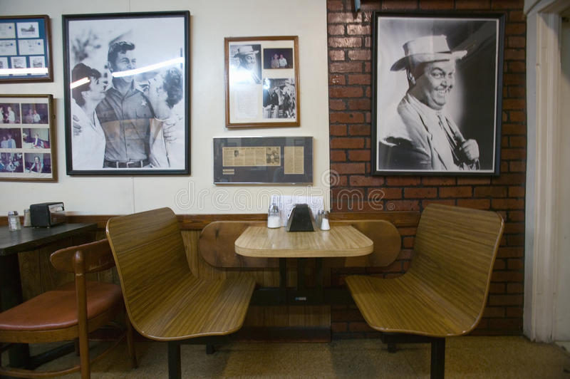 Interior of restaurant in Mount Airy, North Carolina, the town featured in �Mayberry RFD� and home of Andy Griffith stock image