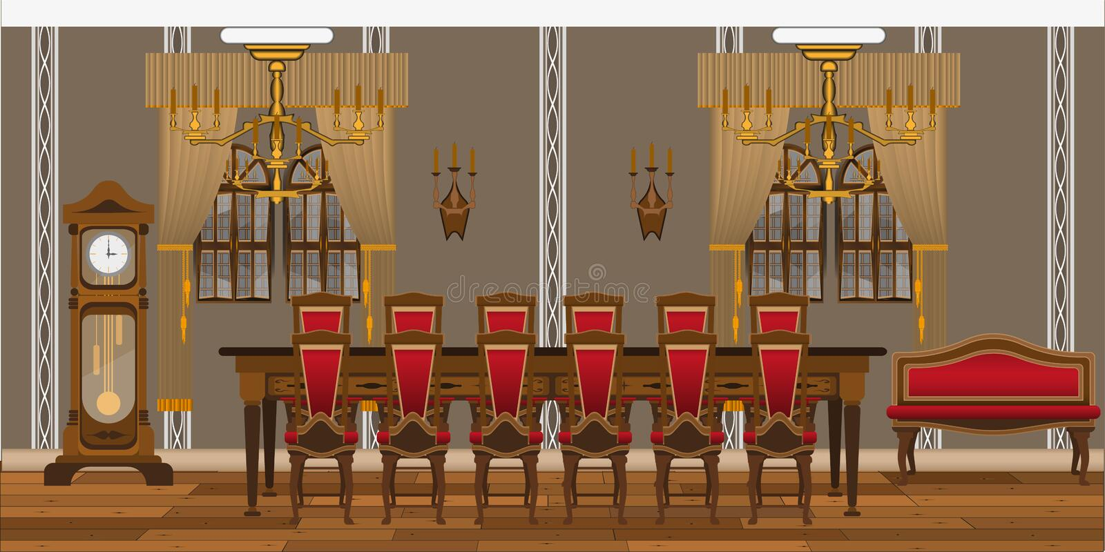 Interior of a restaurant, study or living room with large tables and chairs. royalty free illustration
