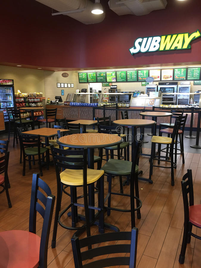 Interior of restaurant Subway in market royalty free stock image