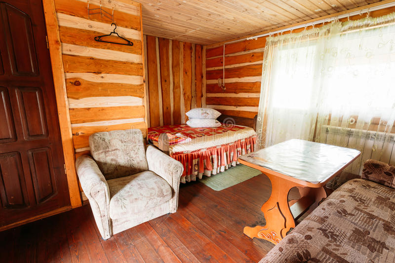 Interior Of Restroom In Belarusian Russian Wooden Guest House In stock photos