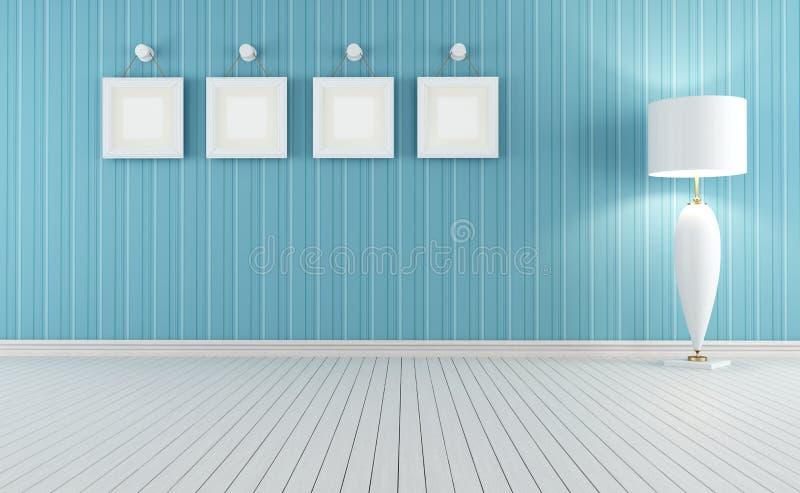 Interior retro azul e branco ilustração do vetor