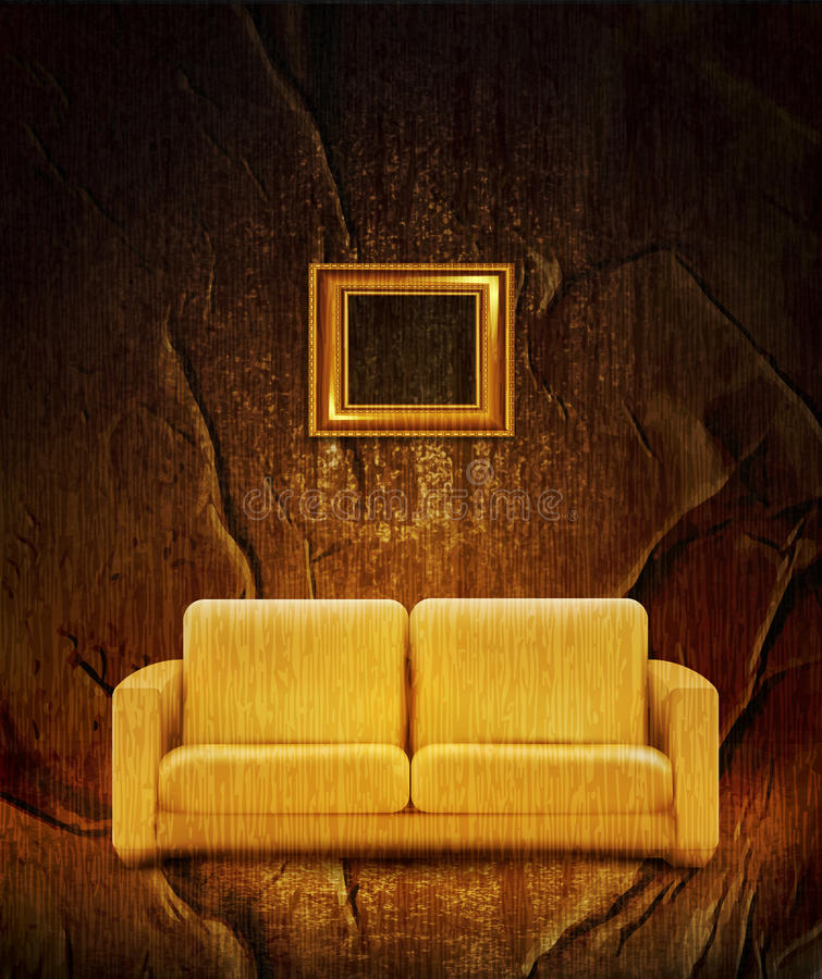 Interior retro com sofá ilustração stock