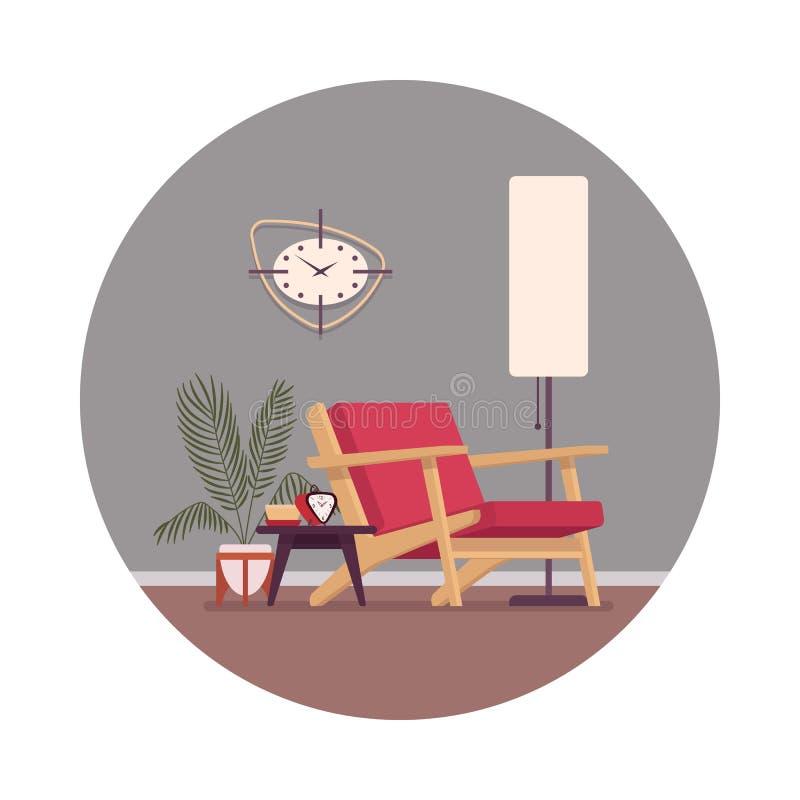 Interior retro con un diván, lámpara de la situación, wallcloks ilustración del vector