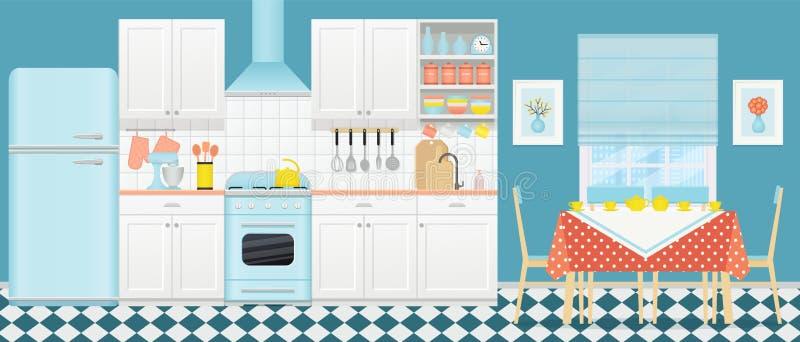 Interior retro da cozinha com o espaço para refeições Ilustração do vetor Projeto liso ilustração royalty free
