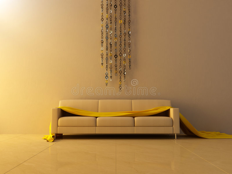 Interior - Ring Chain Decorated Wall Stock Illustration - Image ...