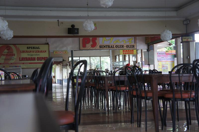 The interior of the roadside restaurant on the island of Java, Indonesia royalty free stock image