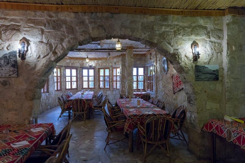 Interior of a roadside restaurant near the city of Wadi Musa in Jordan stock photo
