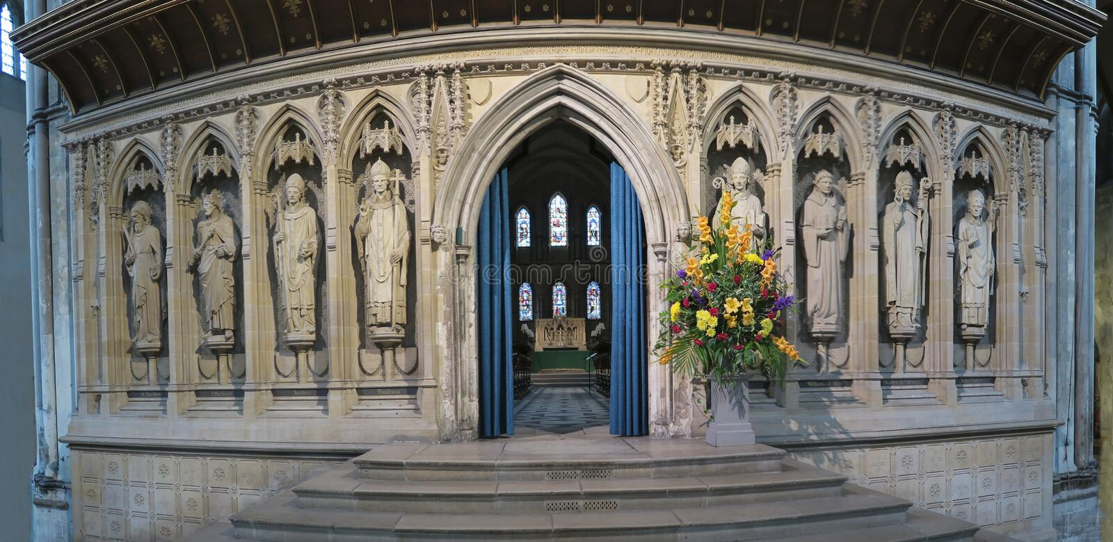 Interior of Rochester cathedral - the gothic church in town Rochester stock image