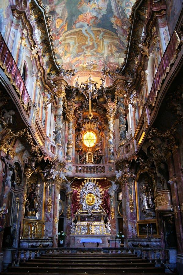 Interior Rococo da igreja, Munich fotos de stock