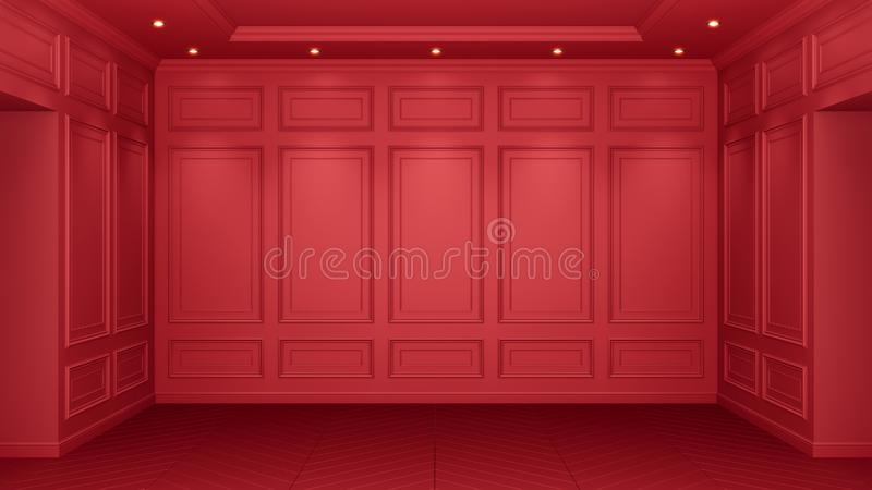 Interior rojo cl?sico con el espacio de la copia Paredes rojas con la decoraci?n cl?sica Raspa de arenque del entarimado del piso libre illustration