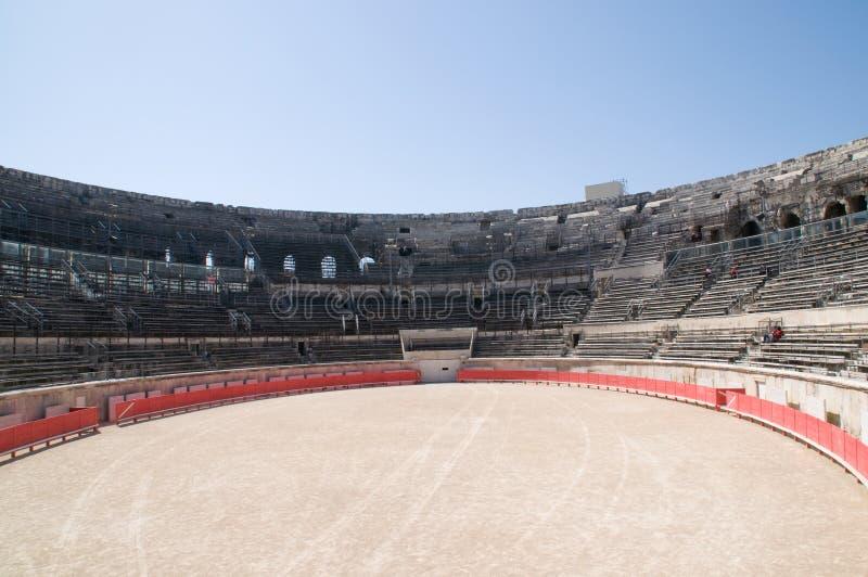 Interior of Roman arena in Nimes stock photos