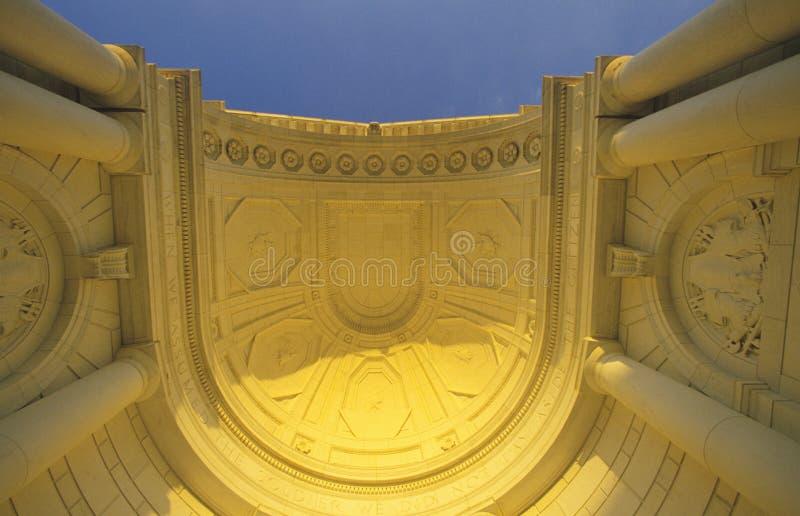 Interior Roof Detail of Arlington Memorial Theater at Sunset, Washington, D.C. stock image