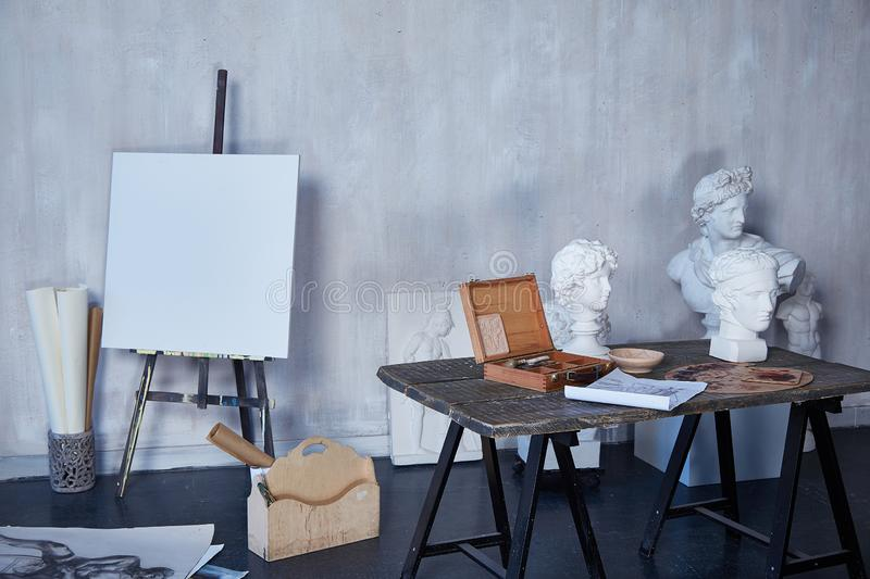 Interior room art, workshop, artist painting, drawing, sculpture sculptor, canvas or museum paint studio.  stock images