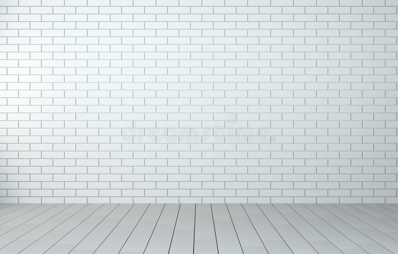 Interior room with brick wall and wooden floor royalty free stock photos