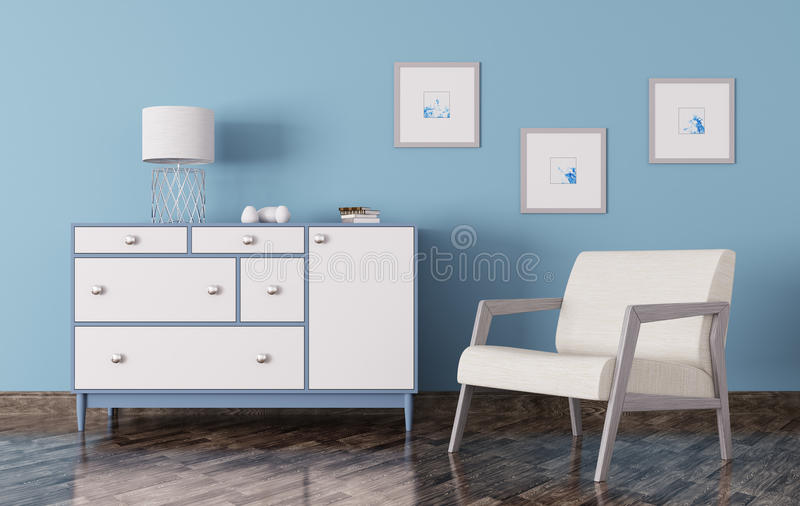 Interior of a room with chest of drawers and armchair 3d render. Interior of a living room with chest of drawers and armchair 3d render stock illustration