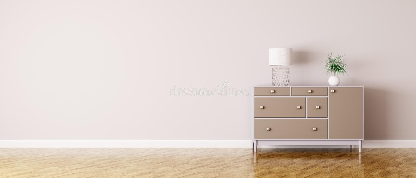 Interior of a room with chest of drawers. Panorama royalty free illustration