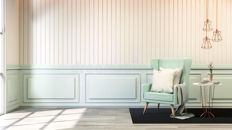 Interior room chic style ,blue pastel sofa with gold lamp on white wall and wood floor,soft light,3d render stock illustration