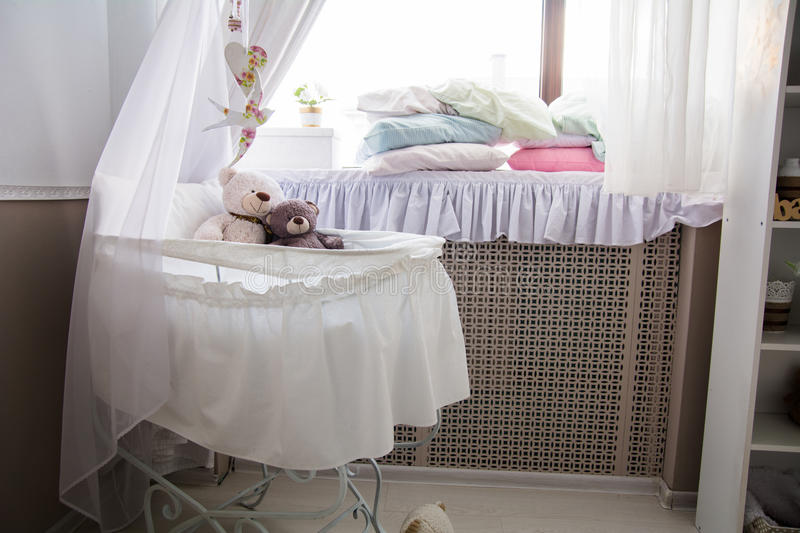 Interior of the room with a cot and window royalty free stock photo