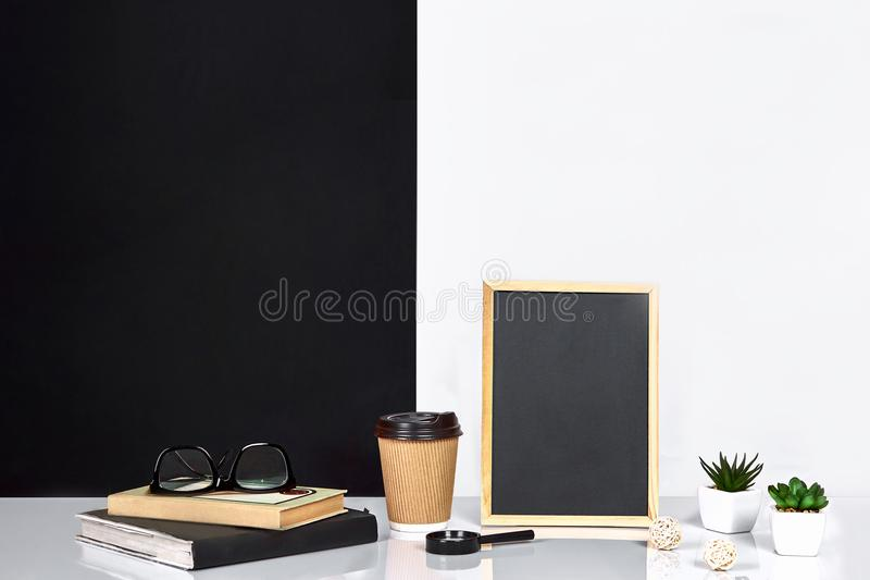 Interior room decoration american or scandinavian style with books, succulent in the pot. Poster with place for text. Interior room decoration american or royalty free stock photos