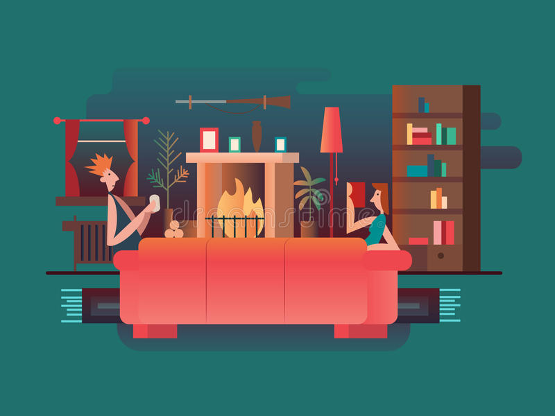 Interior room fireplace stock illustration