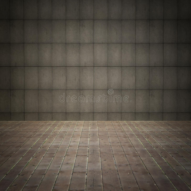 Download Interior Room With Grunge Wall And Old Wood Floor Stock Illustration - Image: 26808344