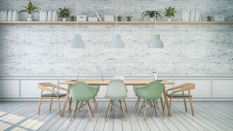 Minimalist interior ,White room with green chair and wood table , white brick wall . Scandinavian style. 3D render royalty free illustration
