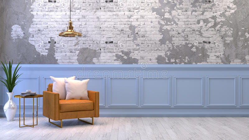 Modern interior of living room with armchairs on white flooring and dark blue wall .emptry room ,3d rendering royalty free illustration