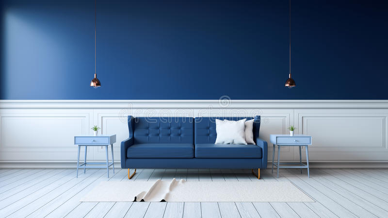 Interior roomModern interior of living room with armchairs on white flooring and dark blue wall .emptry room ,3d rendering. Modern interior of living room with royalty free illustration