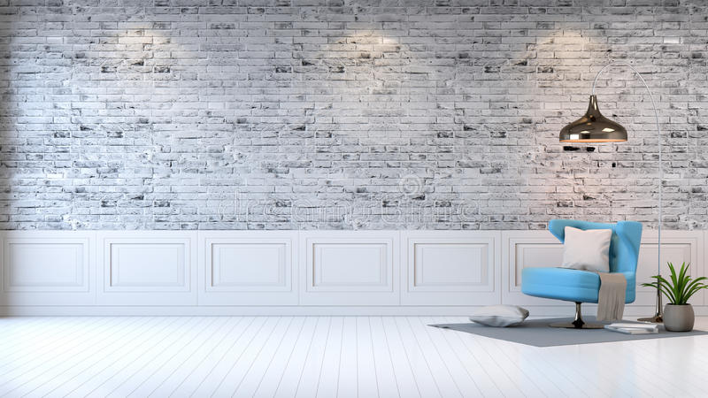 Modern loft interior ,living room, white wood flooring, blue armchair and white lamp on bright gray bricks wall background , 3d. Render stock illustration