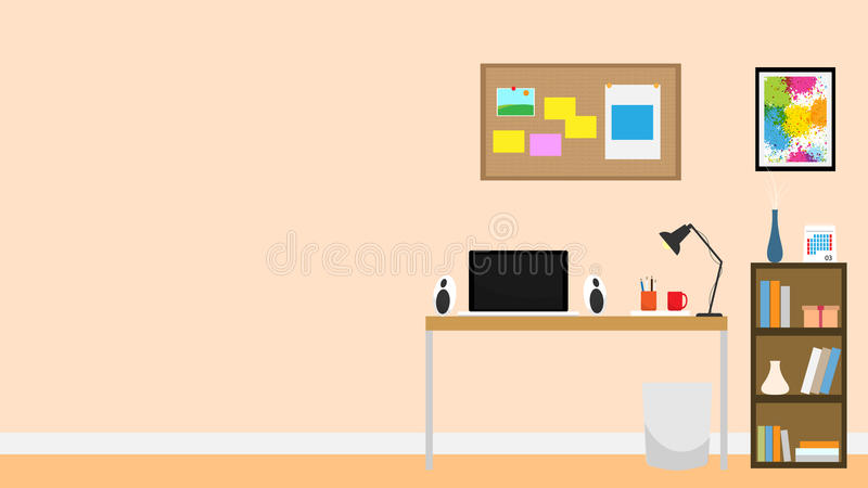 Amazing Download Interior Room Office Notebook Background Flat Design Stock  Illustration   Illustration Of Cork, Monitor