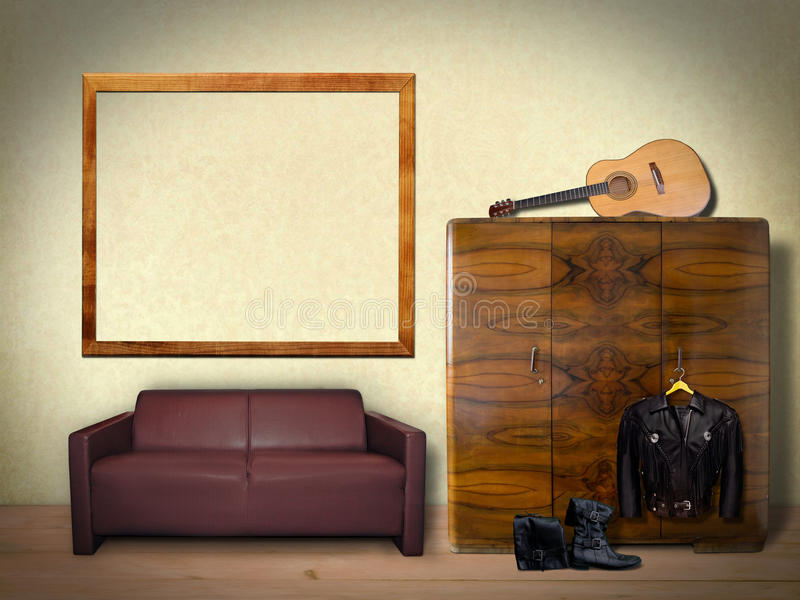 Interior Room with Picture Frame. Interior Room with Sofa ,Guitar,Furniture and Picture Frame for Mock up stock photos