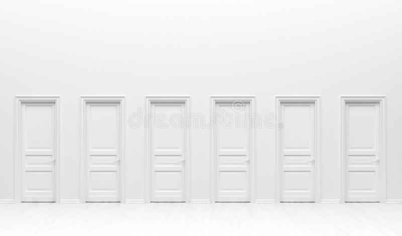 The interior of the room  in plain monochrome white color with many monotone doors. White background with copy space. 3D rendering. Illustration royalty free illustration