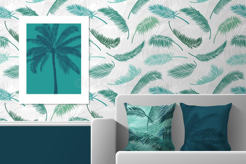 Interior of the room with poster, sofa and pillows with prints. Patterns of seamless patterns and prints for interior vector illustration