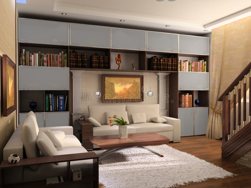 Interior of a room of rest. With a bookcase stock photo