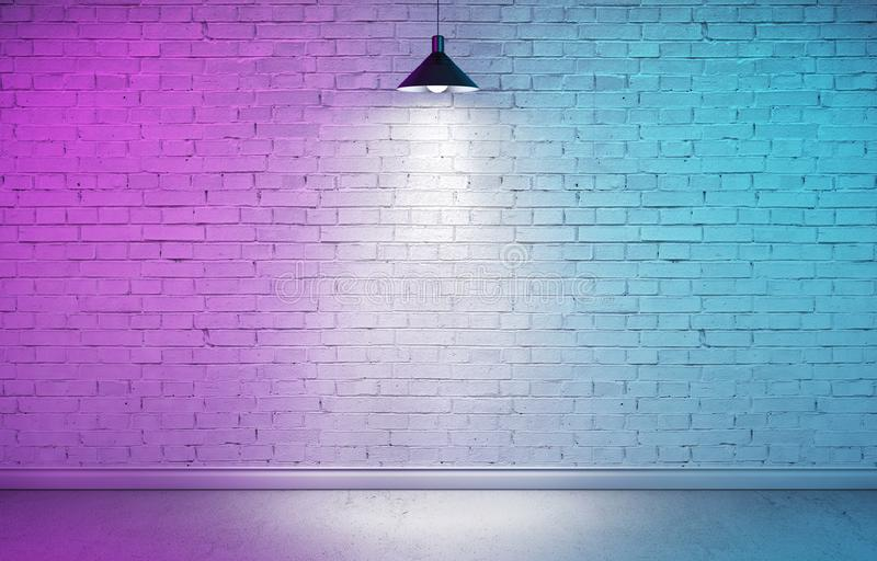 Underground showroom with colorful double light. Interior room with textured white brick wall, concrete floor and plinth. Underground showroom with one hanging stock photo