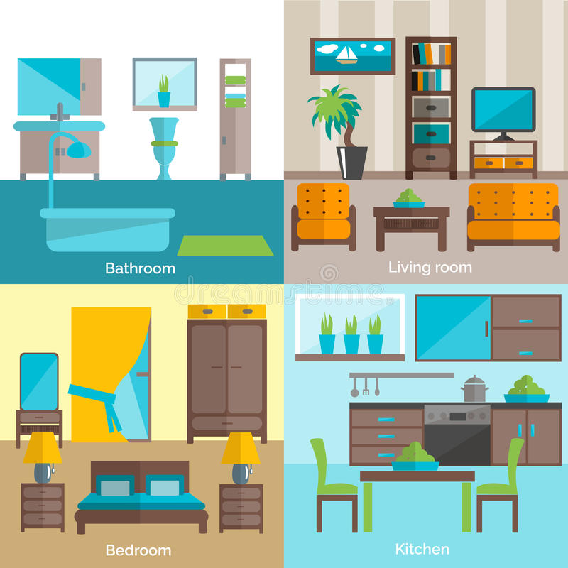 Interior Of Modern Living Room In Flat Design Stock Vector: Interior Rooms Furnishing 4 Flat Icons Stock Vector
