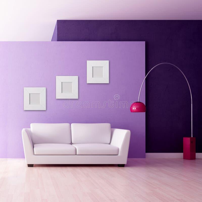 Interior roxo minimalista ilustração do vetor
