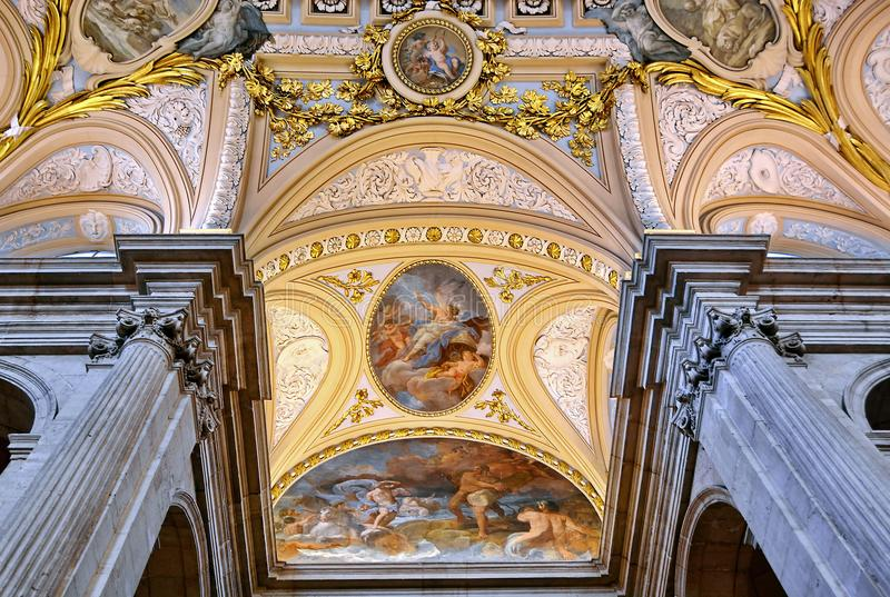 Interior of Royal Palace of Madrid, Spain stock photo