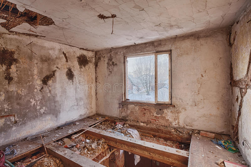 interior   ruined house stock image image  home