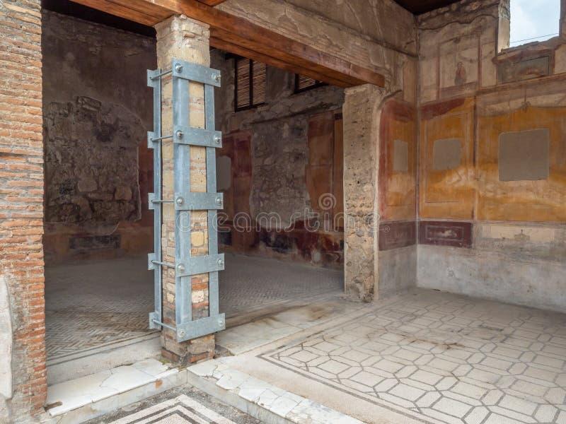 Roman villa in Pompeii, Italy. World Heritage List. Interior of ruined Roman villa in the ancient Roman city of Pompeii, near modern Naples in Italy. Pompeii stock images