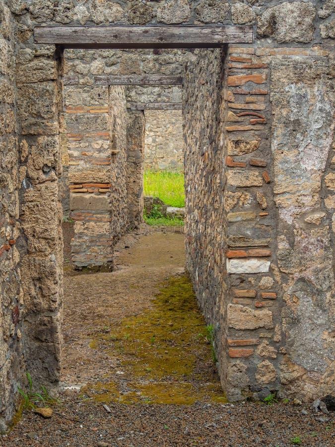 Roman villa in Pompeii, Italy. World Heritage List. Interior of ruined Roman villa in the ancient Roman city of Pompeii, near modern Naples in Italy. Pompeii stock photos