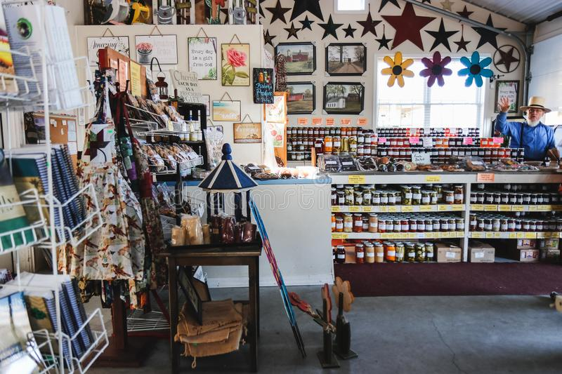 Interior of rural organic market. Natural products sale stock photography