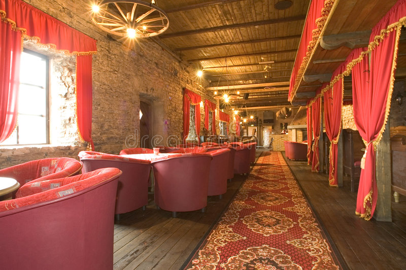 Interior ruso del pub fotografía de archivo