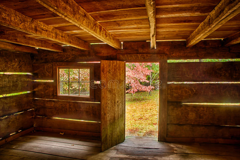 Interior of Rustic Cabin royalty free stock images
