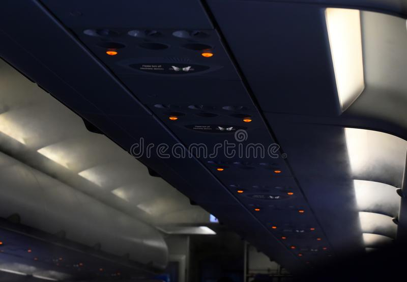 Aircrafts interior with safety sign stock photograph royalty free stock photography