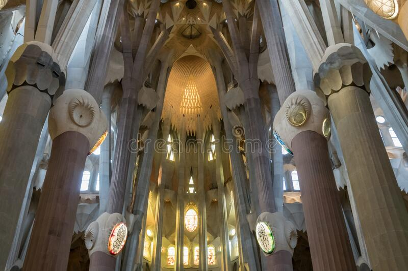 Interior of Sagrada Familia. Barcelona, Spain - December 2019: Sagrada Familia, Gaudi`s most famous and uncompleted church, interior detail royalty free stock photography
