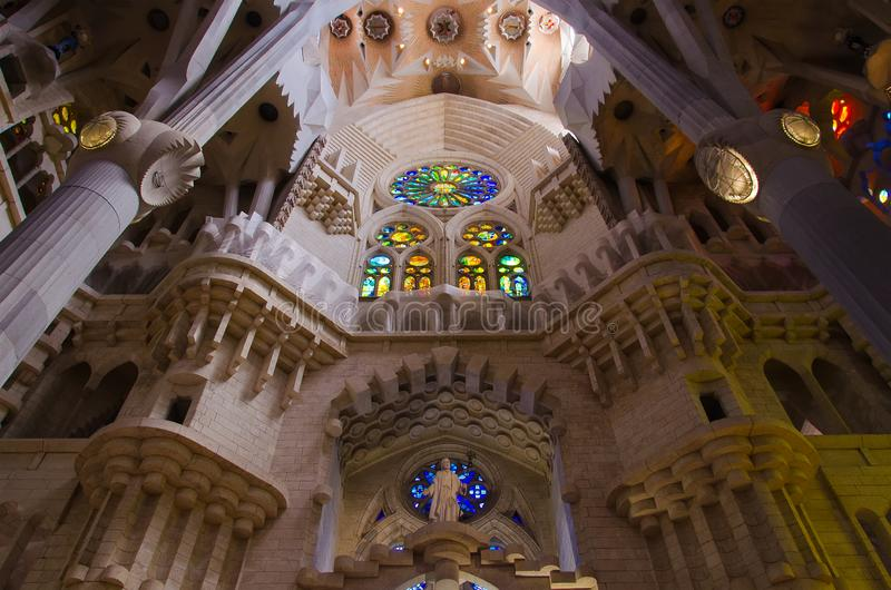 Interior of the Sagrada Familia royalty free stock photo